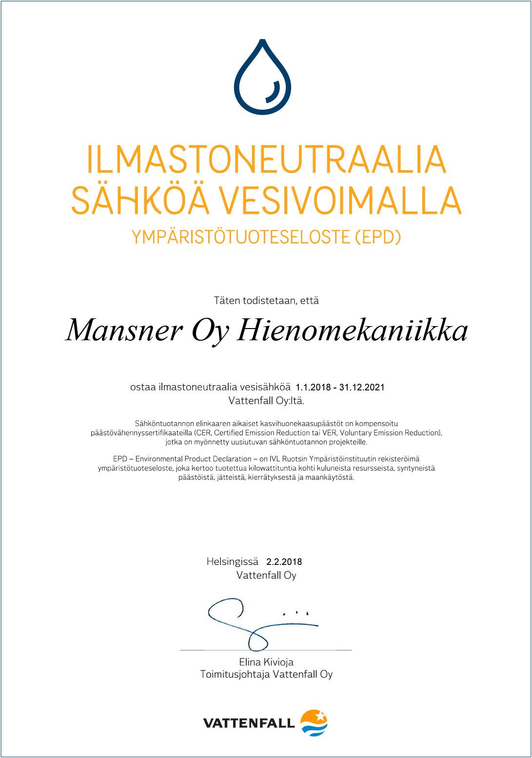 Ilmastoneutraali diplomi Mansner Oy
